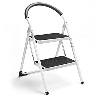 Delxo 2 Step Ladder Folding Step Stool Steel Stepladders with Handgrip Anti-slip Sturdy and Wide Pedal Steel Ladder 330lbs White and Black Combo 2-Feet (WK2061A-2)