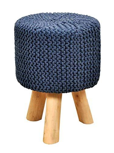 Sitzhocker Strick-Hocker Pouf Schemel mit Holzfüßen Ø 35 cm Höhe 45 cm Farbe meeresblau
