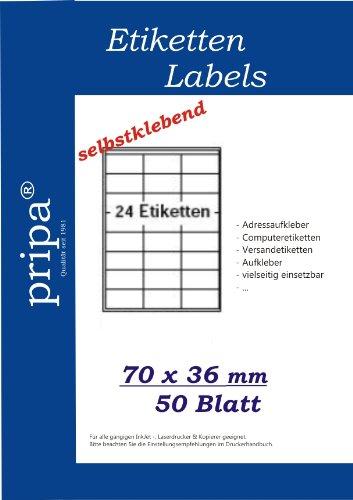 pripa Etikettenformat 70 x 36 mm 50 Blatt DIN A4 Selbstklebende Etiketten, geeignet Fuer FBA