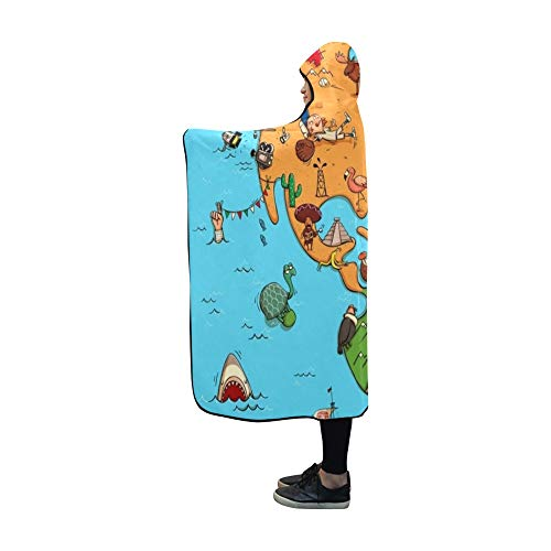 Plsdx Mit Kapuze Decke illustriert Bunte Karte Nord-Südamerika Decke 60 x 50 Zoll Comfotable Hooded Throw Wrap