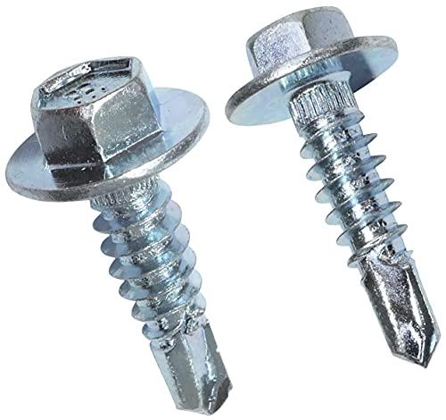 AERZETIX - Juego de 50 tornillos de cubierta autoperforantes Ø6.3x23mm cabeza hexagonal con brida - tornillos de fijación para chapa ondulada contenedores acero en revestimiento - DIN 7504K - C48376