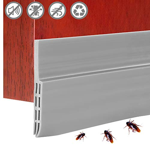 Strategy_JP ドアドラフトストッパー 隙間テープ ドア下部シールテープ 100CM ゴム製 防風 ゴキブリ対策 防音防虫 冷気遮断 断熱シートサッシシールテープ ドア 窓 玄関下 自己接着性スイープ (グレー)