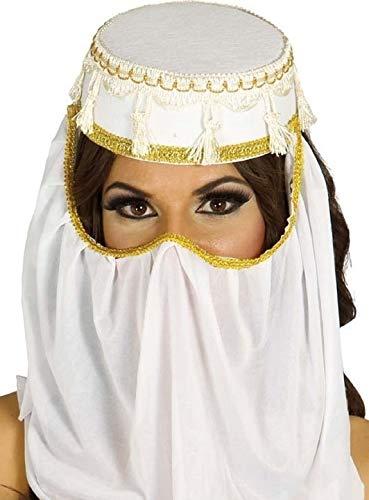 blanc pour femmes Arabe Arabe coiffure tête visage Housse Génie danse du ventre COSTUME DÉGUISEMENT CHAPEAU ACCESSOIRE - Blanc, Blanc, One size