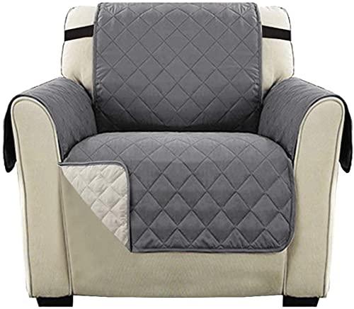 LikeGoods66 - Copridivano, in microfibra, a quadretti, per divani e divani in microfibra a quadri, per animali domestici e bambini, colore: grigio/beige, 1 posto-1 pezzo