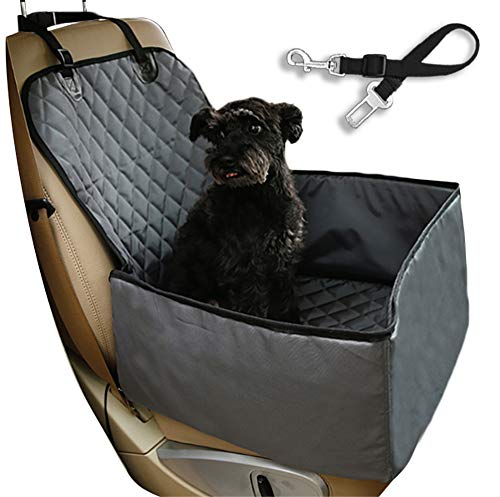 Flow.month Pet Front Seat Cover Pet Booster Seat,Deluxe 2 in 1 Dog Seat Cover for Cars Waterproof Dog Front Seat Cover Pet Bucket Seat Cover with Safety Belt(Grey)