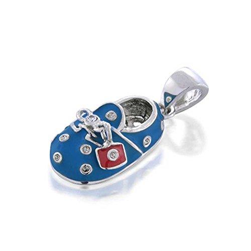 Engravable Sterling Silver Smalto Blu Cz Scarpe per Bambini, Pendente