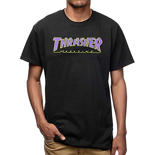 THRASHER Outlined Black Purple - Camiseta Negro  L