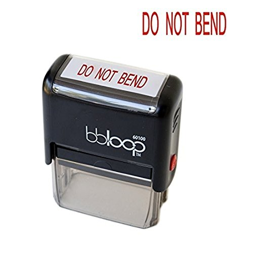 "BBloop Stamp ""DO NOT BEND"" Rectangular. Laser Engraved. RED"