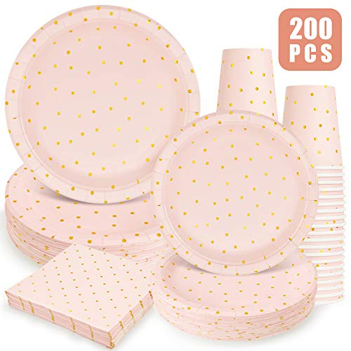 Pink and Gold Party Supplies - 200PCS Pink Paper Plates Disposable Dinnerware Set Gold Dots 50 Dinner Plates 50 Dessert Plates 50 9oz Cups 50 Napkins Sweet Wedding Birthday Party Baby Shower Christmas