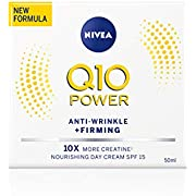 Nivea Q10 Power Anti-Wrinkle + Firming Day Cream SPF15 (50 ml), Anti Ageing Cream + Creatine & Q10, Moisturiser for Women, Reduce Appearance of Wrinkles and Fine Lines