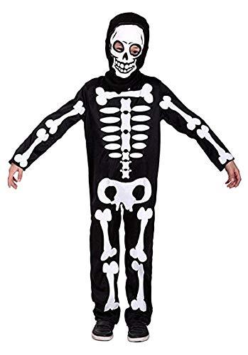 Vestito di Carnevale da Scheletro per Ragazzino Taglia M 5-6 anni Costume Morte Zombie Idea Travestimento Halloween Scherzi da Paura Cosplay Feste in Maschera Horror Tuta con Cappuccio Spaventoso