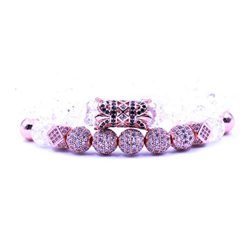 Stone Bracelet For Women,7 Chakra Natural Burst White Clear Quartz Stone Beads Bracelet Elasticity Golden Armguards Bracelet Fashion Boho Yoga Lady Jewelry Gift Mom