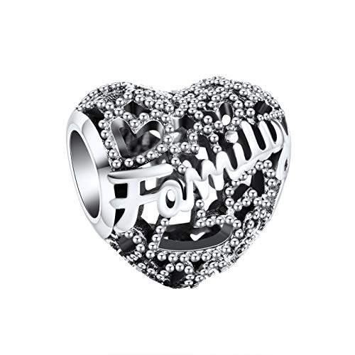 Annmors Cuori di famiglia Charm Donna argento Ciondolo a forma di, in argento Sterling 925, compatibile con braccialetti e collane europei