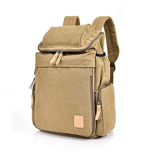 Mochilas Lona, Popoti Mochila Escolar Backpack Laptop Portátil Bag Daypack Unisex Rucksack para School Viaja Senderismo Gran Bolsa Mujeres Hombres (Marrón, 28X16X47CM)