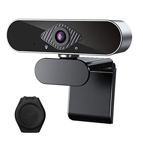 Webcam con micrófono 1080P,Full HD Webcam PC para Videollamadas Panorámicas y Grabación, Aplicar a Skype,Zoom,Enfoque automático Plug and Play, cámara USB para Ordenador portátil, PC/Mac (Negro+Cover)