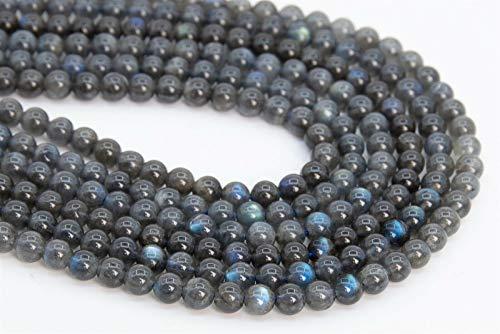 "6.5"" 5MM Genuine Natural Deep nvKE Gray Labradorite Beads Grade AA Round Loose Beads"