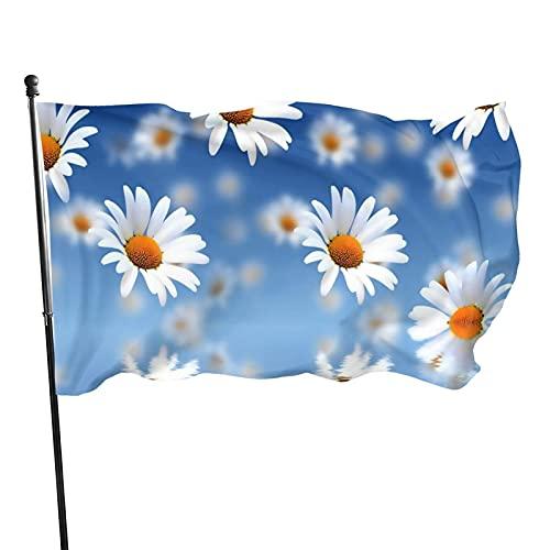 GOSMAO Bandera de jardín Margarita Color Vivo y Resistente a la decoloración UV Bandera de Patio de Doble Costura Bandera de Temporada Banderas de Pared 150X90cm