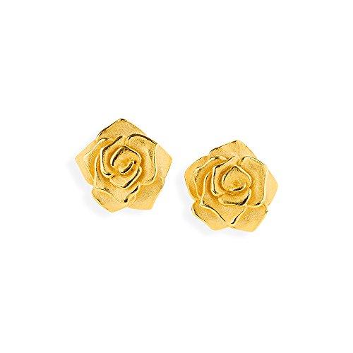 Drachenfels Kleine Rosen Ohrstecker in Echtsilber goldplattiert | Kollektion Rose of Antoine | Rosen Ohrringe aus 925 Sterlingsilber für Damen | D ROF 21/AGG