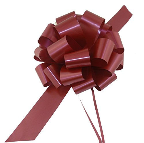 "Large Burgundy Pull Bows - 9"" Wide, Set of 6, Bows for Gifts, Wedding Decor, Christmas Present"
