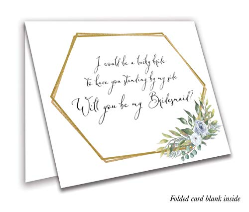 Greenery Geometric Bridal Party Proposal Cards, Will You be My Bridesmaid, Maid of Honor, Matron of Honor Invitation Cards. Folding Cards with envelopes (7)