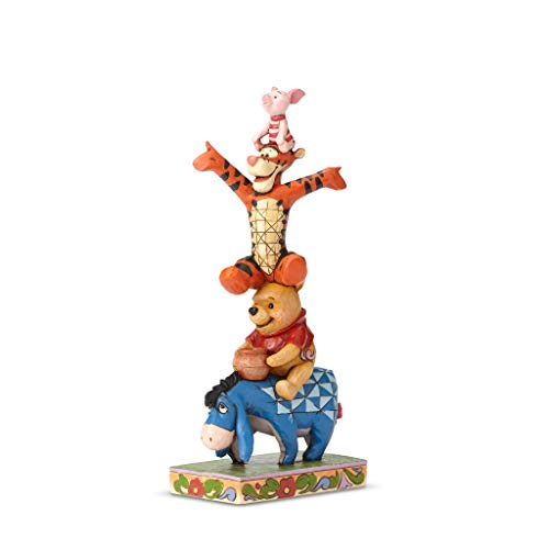 Enesco Disney Traditions by Jim Shore Winnie The Pooh, Eeyore, Tigger and Piglet Built by Friendship Stacked Figurine, 8.11 Inch, Multicolor