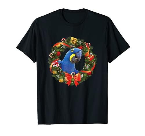 Guirnalda de Navidad del loro guacamayo jacinto Camiseta