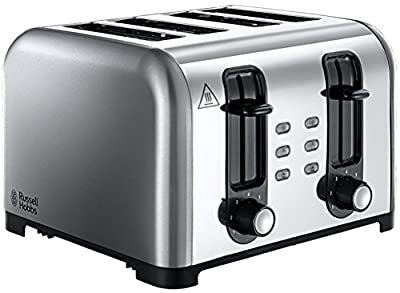Russell Hobbs 4-Slice Wide Slot Toaster 23540, Brushed/Polished Stainless Steel
