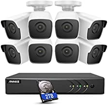 ANNKE 8CH 8 Camera Security System H.265+ DVR Recorder with 2TB HDD and 8X 5MP(2560TVL) IP67 Weatherproof Outdoor CCTV Bullet Cameras, 100ft Night Vision, Easy Remote Access and Email Alert - E500