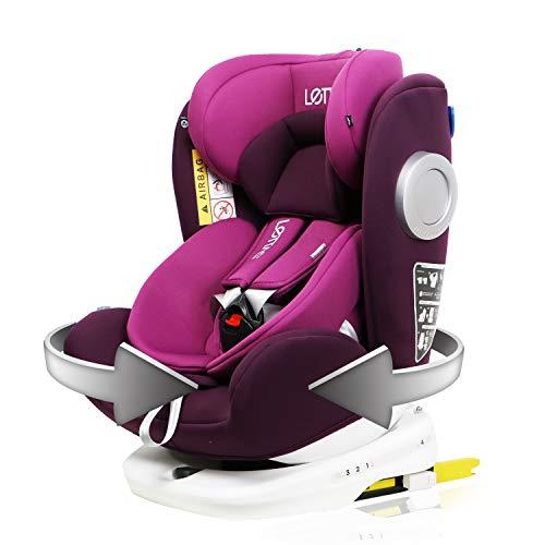LETTAS Baby Autositz 360° drehbar Gruppe 0+1/2/3 (0-36 kg/0-12 Year) mit Protektoren seitliche Isofix Top Tether ECE R44/04