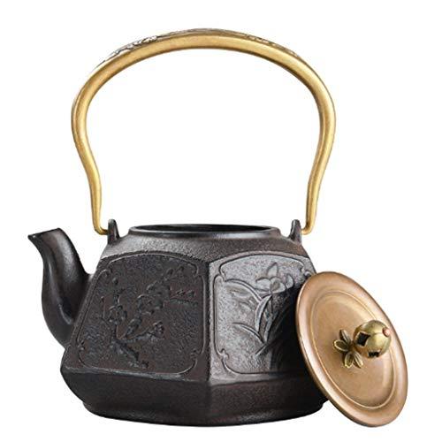 ainaobaoybz Tetera Hierro Fundido Teapot Moldeada de Estilo japonés Tetera de Hierro, Ciruela Flor de orquídea de bambú crisantemo Hervidor, Sana Caldera 1.3L