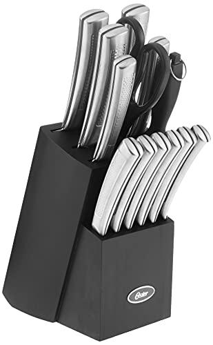 Oster Wellisford Conjunto de facas de aço inoxidável de alto carbono, 14 peças, preto/prata