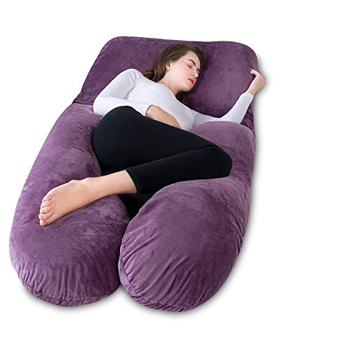 Meiz Pregnancy Pillow with Velvet Cover, Adjustable Belt and Detachable Extension, U-Shape Full Body Pillow for Support Back, Hips, Legs and Belly (Purple)