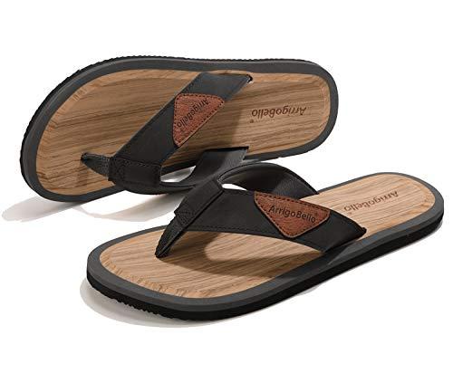 ARRIGO BELLO Flip Flops Herren Zehentrenner rutschfeste Holzmaserung Comfy Badelatschen Flach Sommer Sandalen Breite Füße Strand Schuhe Gr.41-46 (grau, 46 EU, 46)