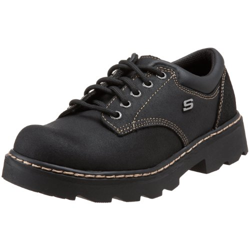 Skechers Women's Parties-Mate Oxford,Black Suede Leather,8.5 M US