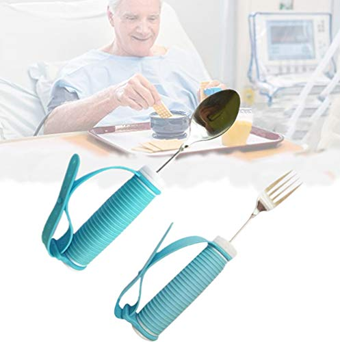 Elderly Silicone Aid Tableware - Spoon & Fork Food Eating Daily Living Accessories for Parkinson Disabled, Handicapped (Fork & Spood)