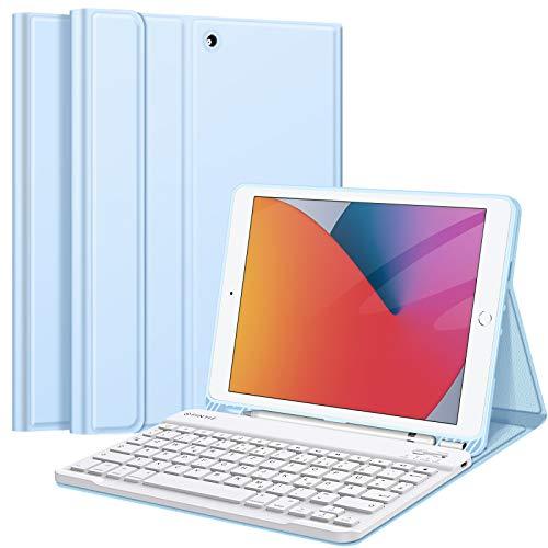 Fintie Tastatur Hülle für iPad 10.2 Zoll (8. & 7. Generation - 2020/2019), Soft TPU Rückseite Gehäuse Schutzhülle mit Pencil Halter, magnetisch Abnehmbarer Tastatur mit QWERTZ Layout, Himmelblau