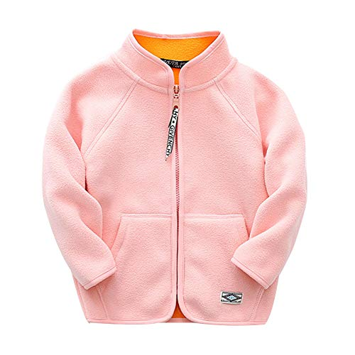 Lishui Kinder Junge Mädchen Softshell Jacke Reißverschluss Fleecejacke Casual Leichtgewicht Mantel Pink 6-7/130 - Höhengeeignet:122CM
