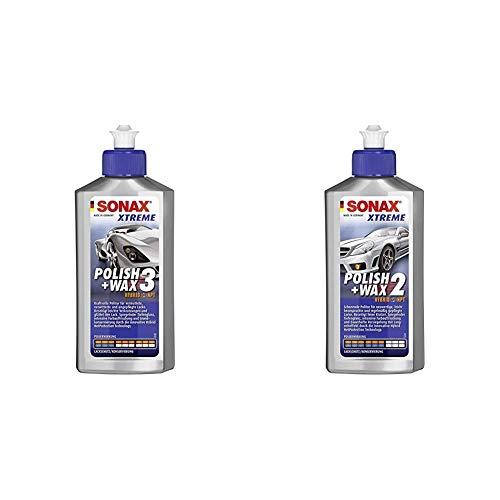 SONAX Xtreme Polish+Wax 3 Hybrid NPT (250 ml) kraftvolle Politur & Xtreme Polish+Wax 2 Hybrid NPT (250 ml) schonende Politur mit mittlerer Wirkung für regelmäßig gepflegte Lacke