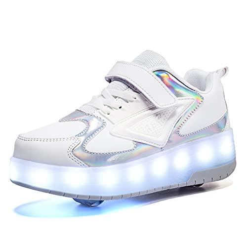 Pattini a Rotelle per Bambini 7 Colori Luci LED Scarpe con Rotelle Ricarica USB Luminosi Ruote Doppie Sneaker Sportive All'aperto Fitness Running Scarpe da Skateboard per Ragazze Ragazzi