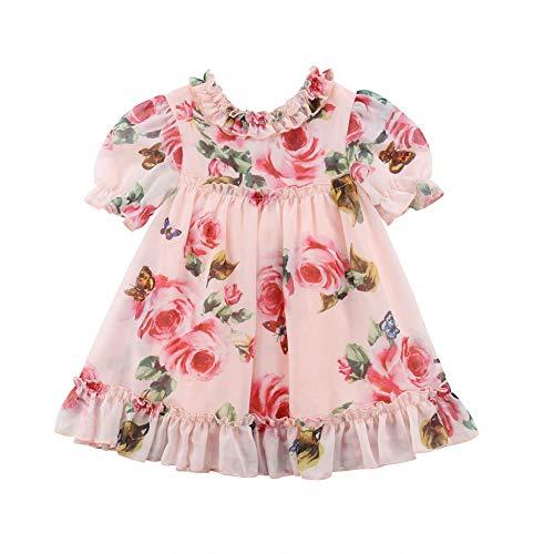 KMBANGI Toddler Baby Girls Flower Print Ruffles Princess Dress Sundress Clothes Outfit (4-5 T, Pink)