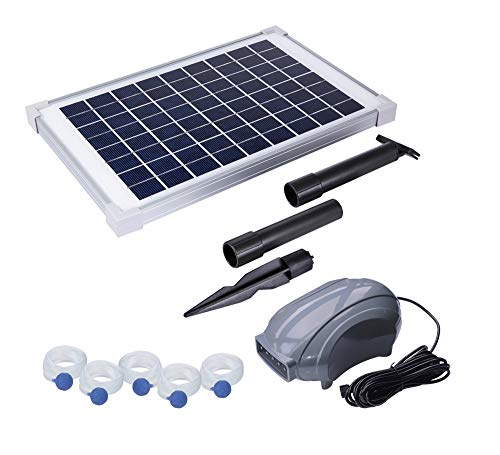 Solariver Solar Pond Aerator, DC Brushless Air Pump, 10 Watt Solar Panel, 5 Air Stones, Sun Powered Oxygenation for Fish Ponds, Aquaculture, Hydroponic, Bubbleponics, Bait Tank