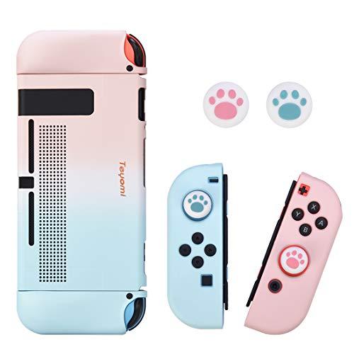 Teyomi Hülle für Nintendo Switch mit 2 PCS Joystick Kappen, Ergonomischem TPU Griff und ABS-Schutzhülle mit Andockbarem, Stoßdämpfendem und Kratzfestem Design
