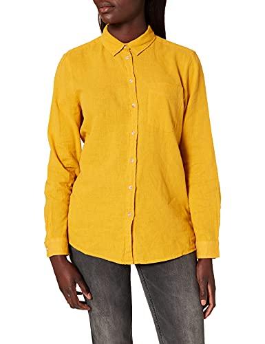 Springfield Blusa Lino Algodón Orgánico Camisa, Amarillo/Off White, 38 para Mujer