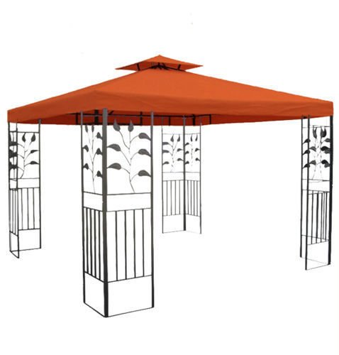 habeig WASSERDICHTER Pavillon TOSKANA 3x3m Metall inkl. Dach Festzelt wasserfest Partyzelt (Terrakotta)