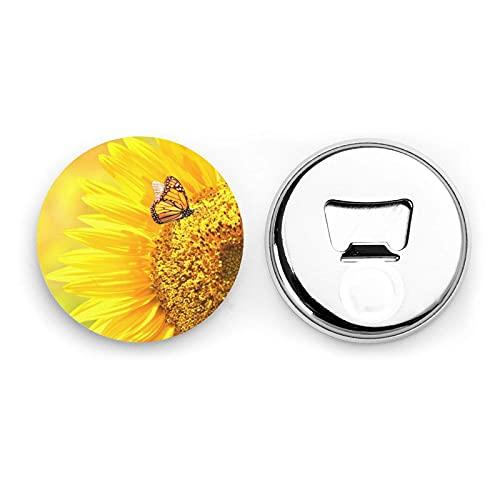 Sunflower Butterfly Sunny Round Bottle Openers/Fridge Magnets Stainless Steel Corkscrew Magnetic Sticker 2 Pcs