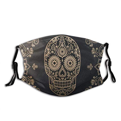Face Cover Sugar Skull and Flowers Mask Printing Design Balaclava Bandanas Reusable Windproof Anti-Dust Adjustable Earloops Headwear Outdoor Motorcycle Running Mask with 2 Filters for Teen Men Women