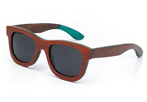 4sold – Lunette de soleil unisexe en bois ou bois de bambou et polarisée style rétro vintage UV 400, femme Homme, Bois marron