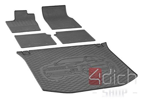 Passgenaue Kofferraumwanne und Gummifußmatten geeignet für Jeep Grand Cherokee ab 2014 + Autoschoner MONTEUR