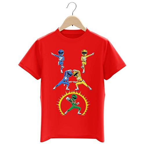 T-Shirt Enfant Garçon Rouge Parodie Power Rangers - Power Ranger Bleu, Power Ranger Jaune et Power Ranger Vert - Une Fusion colorée. (T-Shirt Enfant de qualité Premium de Taille 11-12 Ans - Imprim