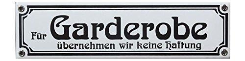 Für Garderobe übernehmen wir Keine Haftung Emaille Schild 8 x 30 cm Jugendstil Emailschild weiß.
